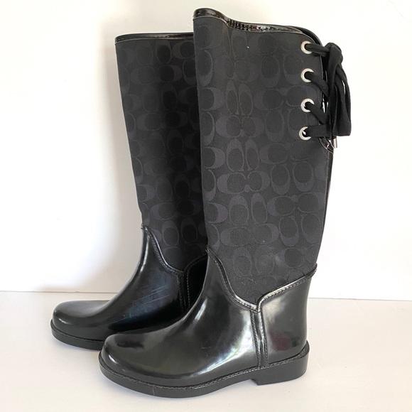Coach Shoes - COACH Tristee signature fabric & rubber boots BoxA
